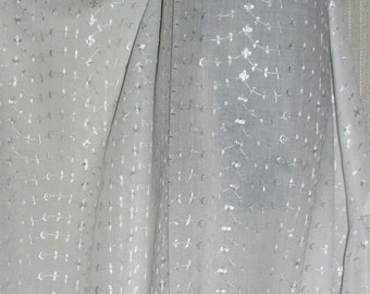 "Fabric White Embroidered Eyelet Sheer Polyester  and Cotton 50"" Wide  By the yard"