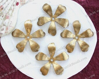 Large Raw Brass Flowers, 31mm Vintage Style Metal Flowers, DIY Wedding Tiara Hair Piece Wreath Crown Supplies, Made in the USA ~ STA-246