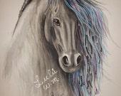 "24"" x 36"" inches, horse, digital print, water color, painting, art, gift, caballo, impresion digital, pintura, acuarela, arte"
