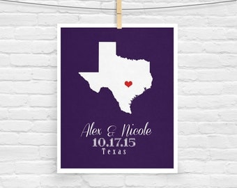 Texas or ANY STATE Wedding Gift - Personalized State and Heart Silhouette  - Custom Wedding Date - Location Map Modern Art Print - 8x10