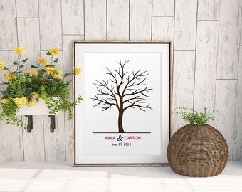 Wedding Tree Guest Book - Finger Print Thumbprint Signature Tree Wall Art Guestbook - Color Font