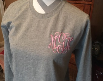 Women's Long Sleeved Embroidered Monogrammed T-Shirt