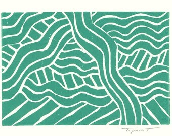 5 DOLLAR SALE - Linocut Print - Abstract Waves and Lines 8 x 10 Block Print - CLEARANCE