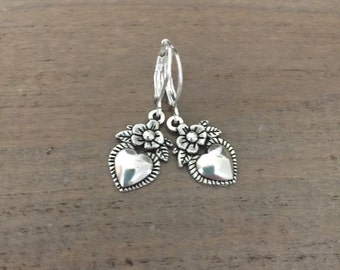 Silver Heart Earrings, Heart Flower Dangles, Small Heart Earrings