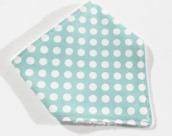 Baby Bandana bib Duck Egg Blue Polka design Cotton front Bamboo towelling backed