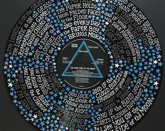 Pink Floyd Brain Damage Lyrics Handpainted on Vinyl Record