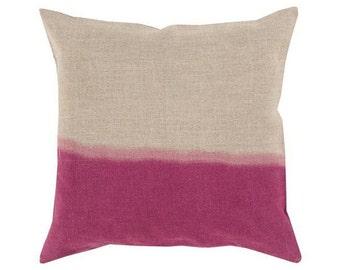 Ombre Pillow, Dip Dyed Pillow, Linen Pillow, Fuscia Pink Pillow Cover, Pillow Sham