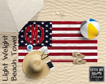Personalized Beach Towel USA Flag America Monogrammed Towel 30x60 Poly/Cotton