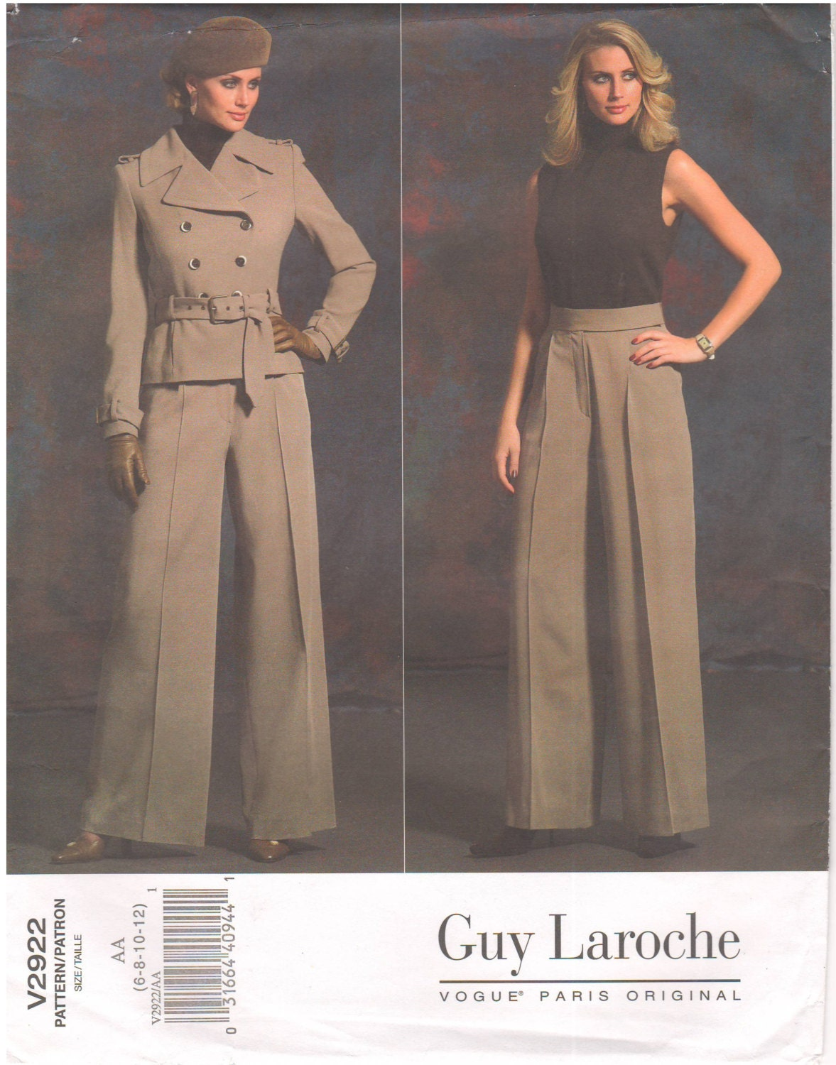 Vogue V2922 Vogue 2922 Guy Laroche Hervé Léger Hervé L Leroux jacket pants belt