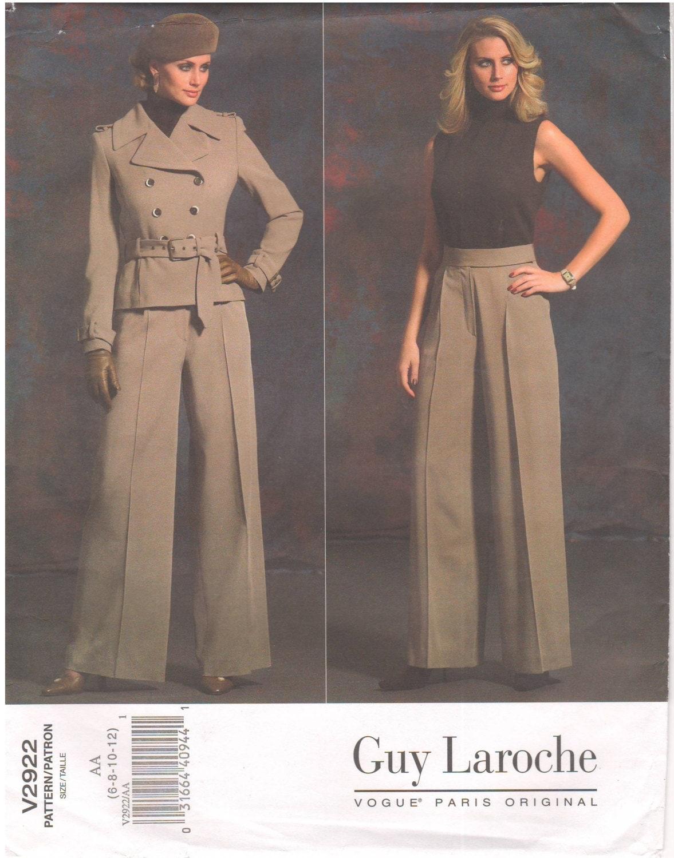 Vogue V2922 Vogue 2922 Guy Laroche Hervé Léger Hervé L Leroux jacket pants belt