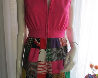 1970's Handmade Colorful Ladies Short Quilted/Polyester ONE PIECE Romper