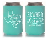 Custom Wedding Favor - Deep in the Heart of Texas Can Coolers