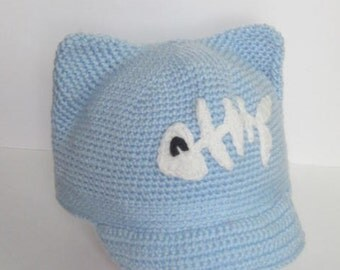 Blue Cat Hat Blue Pussycat Hat Kids Blue Kitty Hat Knit Cat Hat Ears Hat with fish Kitty Cat Hat, Kids Knit Cat Hat, Unique Kids Cat Hat