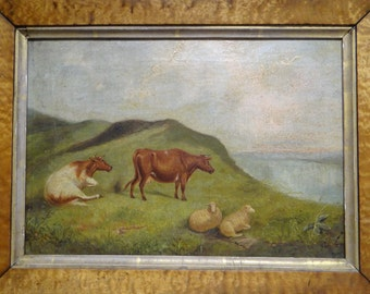 1800's Cows in Field on Canvas, Original Landscape Oil Painting, Birds Eye Maple Frame