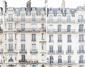 Paris Photography - Windows on Ile de la Cite, Neutral Urban Home Decor, Large Wall Art, French Architecture, Home Decor