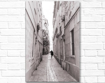 Paris Photography on Canvas - Street Scene, Gallery Wrapped Canvas, Large Wall Art, Black and White, Architectural Urban Home Decor