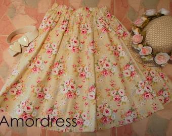 """Floral skirt - Midi Skirt - Beach Garden Summer Skirt - Vintage Inspired - Shabby Chic - Swing Skirt - Alice in Wonderland -  Waist 26""""-28"""""""