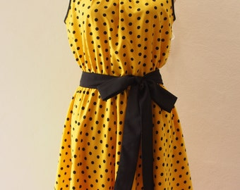 Polka Dots Party - Yellow Summer Dress, Sleeveless Dress, Vintage Inspired, Pin up Rockabilly, Dot Dress, Swing Dancing Skirt, XS-XL, Custom