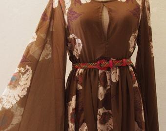 Boho Dress, Bohemian Tunic Dress, Chiffon Olive Dress, Bell Sleeve Boho Floral Dress Over Size Camping Girl Look - Free size between US4-US8