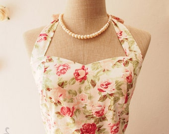 Pink Tea Dress Vintage Inspired Dress Pink Floral Dress Pink Summer Dress Floral Once Upon a Time Bustier Dress-Size XS,S,M,L,XL,CUSTOM