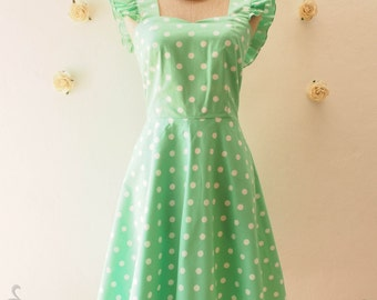 SALE Seafoam Green Polka Dot Dress Bridesmaid Dress Retro vintage Ruffle Sleeve Dress Cute Tea Party Dress Retro Dress -Size S ready to ship