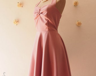 Halter Dress Vintage Style Party Dress Swing Dress Dusky Pink Bridesmaid Dress Vintage Swing Summer Pink Retro Dress- XS-XL, Custom