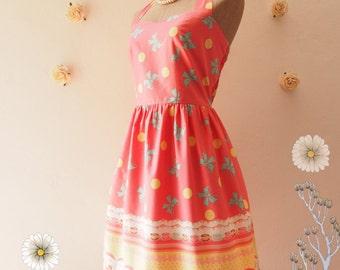 SALE Carnival Dress Pink Summer Dress Cute Sundress Carousel Vintage Inspired Party Dress Kitsch Dress - Halter or Shoulder Straps -XS-XL