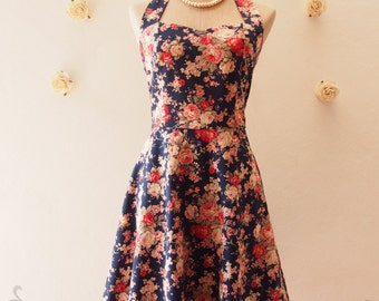 SALE Size Small - Floral Sundress Rose Floral dress Navy Swing Dress Sweet Vintage Party Dress, Navy Summer Dress, Dress for Photo shoot