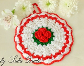 Instant Download Crochet Pattern (pdf file) - ROSE pot holder