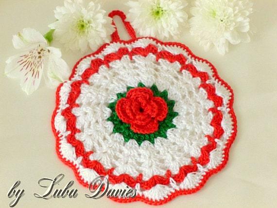 Instant Download Crochet Pattern (pdf file) - ROSE pot holder