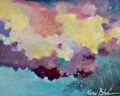 Small Abstract Acrylic Painting, Colorful Cloud Painting, Affordable Original 11x14