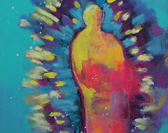 "Miniature Abstract Figure Painting, Original Modern Iconography, Angel, ""When YouBecome Your Own Saint"" 6x6"""