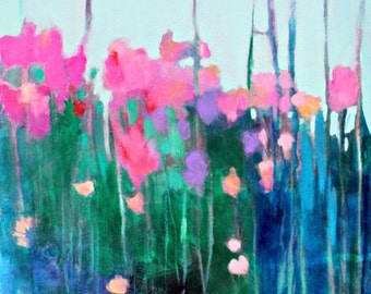 """Abstract Floral Painting, Colorful Flowers, Abstract Acrylic Painting, Original on Canvas """"Wildflowers in the Tall Grass"""" 18x24"""