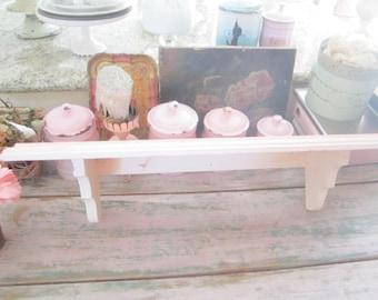 Shabby chic Vintage  chippy pink wood  shelf  shabby chic cottage prairie