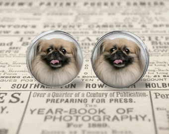 Pekingese Dog Button Earrings