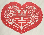 Tranditional Chinese Paper Cut art - Double happiness surround with Flowers in heart sharp