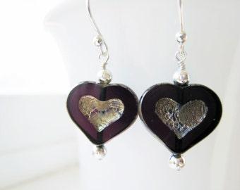 Purple Heart Earrings Czech Glass Heart Earrings Purple Valentines Day Jewelry Purple Earrings Valentine Jewelry Romantic Gift Idea