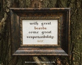 RESERVED: Great Beards - framed cross stitch