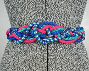 Vintage 1980s Belt 80s Colorful Twisted Knot Elastic Belt M