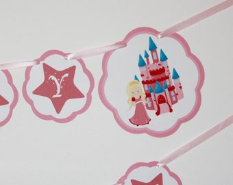 Princess Banner, Princess Birthday Party Banner, Happy Birthday Banner, READY TO SHIP, Pink Princesses Party Decorations Banners