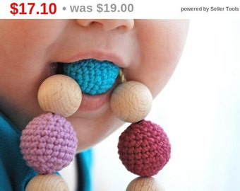 Sale! Teething toy with crochet wooden beads. Baby teether. Shower gift for baby and new mom