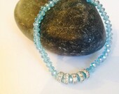Turquoise blue beaded crystal bracelet with sparkly beads - iridescent sparkle bracelet - braclet - jewellery uk - sparkley jewellery
