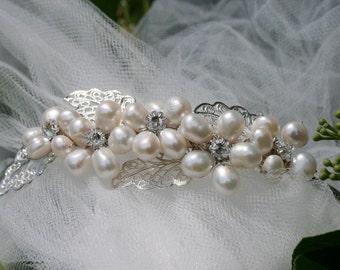 Bridal Freshwater Pearls Headpiece/Swarovski Crystals/Cotillion/Prom/Quinceanera Tiara Headpiece/Handmade by Nostalgic Baby Couture