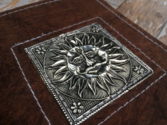 SUN JOURNAL- Embossed Journal- Om Notebook- Silver Journal- Sketchbook- Notebook- Dream Journal- Travel Journal- Scrapbook- Handmade