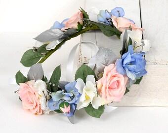 Large Rose Floral Headpiece, Boho Hair Wreath, Bridal Hair Accessory, Wedding Hair Piece, Pink Blue Ivory Flower Crown, Bridal Head Wreath