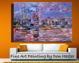 ORIGINAL  landscape  Painting, abstract cityscape art  original painting, home decor,  office decor by HesterPaintings 24x36