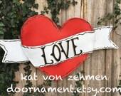 Valentines Door Hanger, Screen Valentine's Day Tattoo Heart with Love Banner Wreath Door Hanger