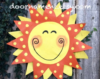 Summer Wreath, Summer Door Hanger, Bright Yellow Sunshine Door Hanger, Screen Door Hanger, Spring Door Hanger