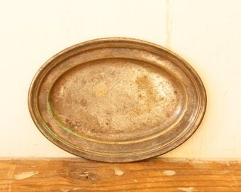 Vintage Silver Plated Copper Oval Plate