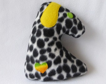 Small Dog With Replaceable Squeaker Dog Toy - B&W Spots/Yellow Ears